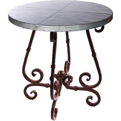 """""""French Bar Table with 40"""""""" Round Hammered Zinc Top"""""""