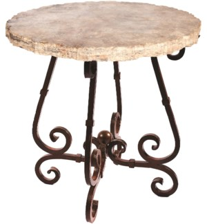 """French Bar Table with 40"""" Round Marble Top with Live Edge"""
