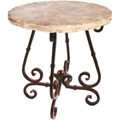 """""""French Bar Table with 40"""""""" Round Marble Top with Live Edge"""""""