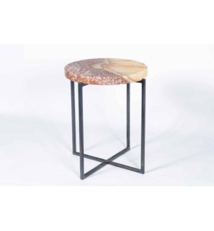 Essex Accent Table in Fire with Onyx Top in Topaz Onyx