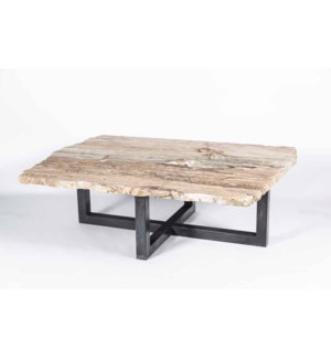 Massey Cocktail Table in Fire with Live Edge Natural Onyx Top