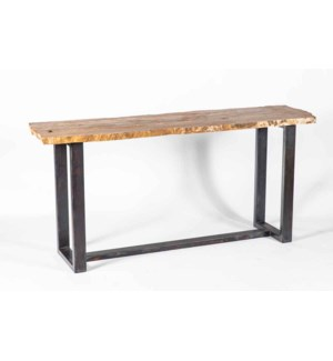 Monroe Console Table in Fire with Live Edge Top in Sienna Onyx