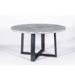 """56"""" Round Collin Dining Table in Fire with Gray Marble Top"""