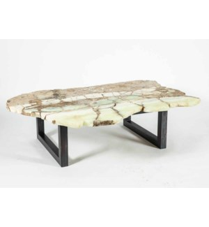 Julian Cocktail Table with Live Edge Natural Green Onyx Top