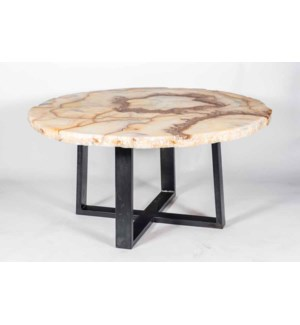 """60"""" Collin Dining Table in Fire with Top in Camel Onyx"""
