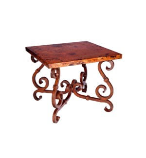 French Square End Table with Hammered Copper Top