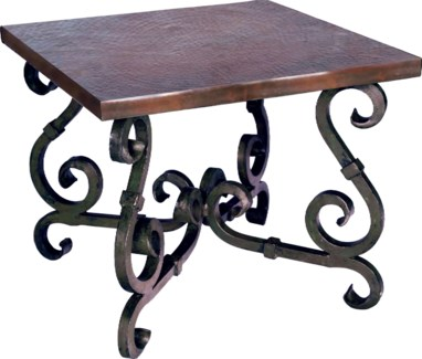 French Square End Table with Dark Brown Hammered Copper Top