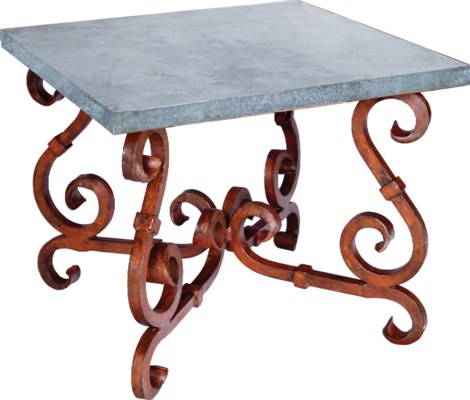 French Square End Table with Zinc Top