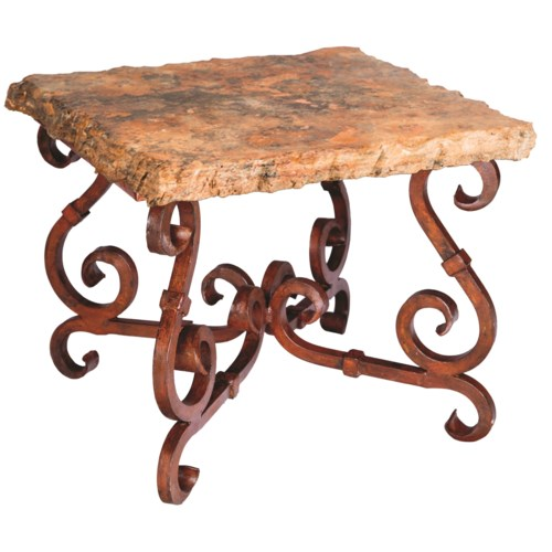 French Square End Table with Marble Top