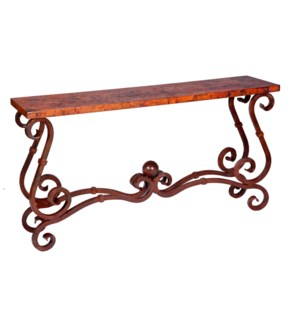 French Console Table with Hammered Copper Top