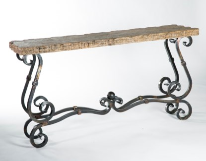 French Console Table w/Live Edge Marble Top / Marble Size 64 x 18 x 2.5