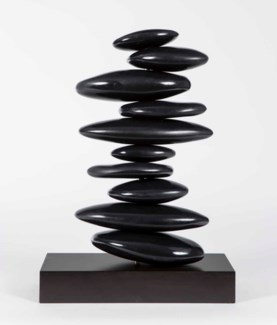 Large Table Stacked Rock Sculpture in Smooth Black