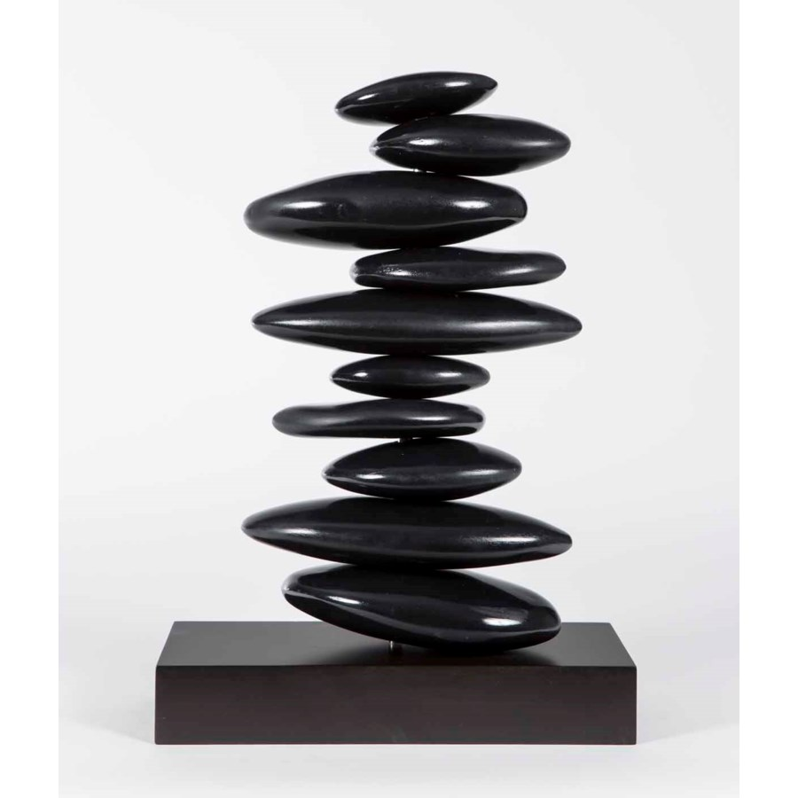 Large Stacked Rock Table Sculpture in Smooth Black