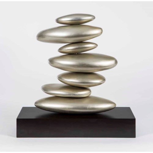 Medium Table Stacked Rock Sculpture in Smooth Silver Finish