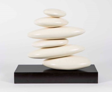 Small Table Stacked Rock Sculpture in Smooth Beige Finish