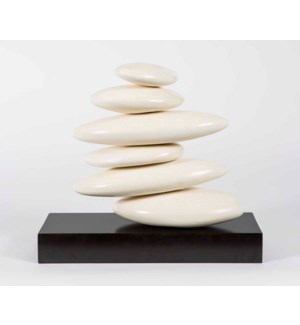 Small Stacked Rock Table Sculpture in Smooth Beige Finish