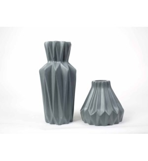 Star Vases Set of 2 in Matte Gray
