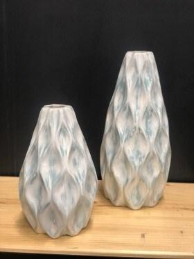 Set of 2 Teardrop Vases in Sky Blue