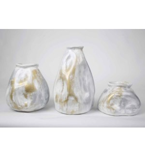 Moon Stone Vases Set of 3 in Antique Ivory