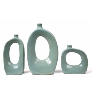 Set of 3 Vases w/Holes in Light Blue
