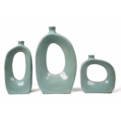 Set of 3 Vases w/Holes in Light Blue
