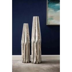 Set of 2 Geometric Floor Vases in Sea Stone Finish