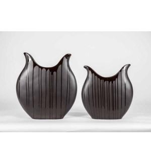 Set of 2 Lunar Vases in Black Drip