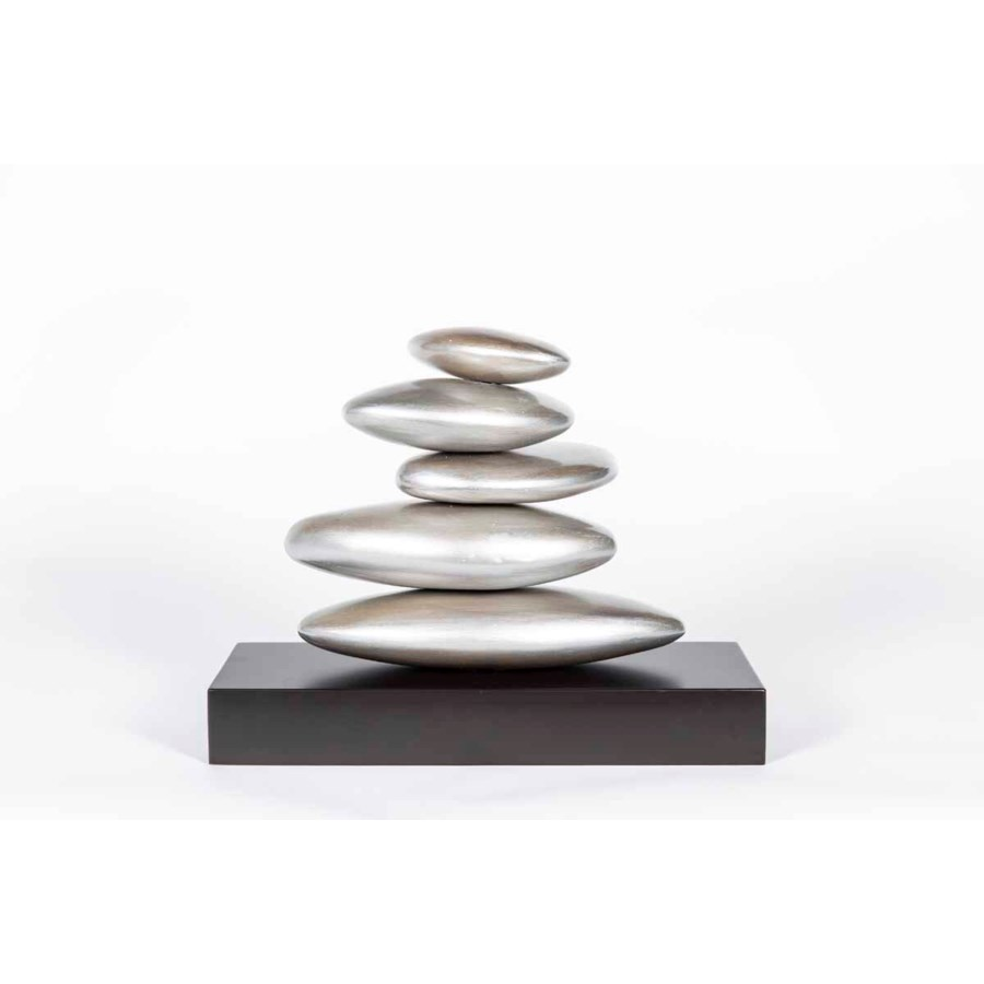 Stacked Rock Table Sculpture in Smooth Silver