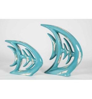 Set of 2 Fish Bone Sculptures in Aged Aqua