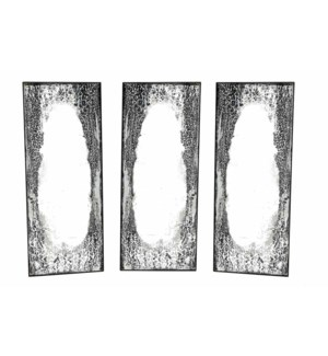 Rectangle Antique Black Mirrors Set of 3 with Rusted Iron Frame