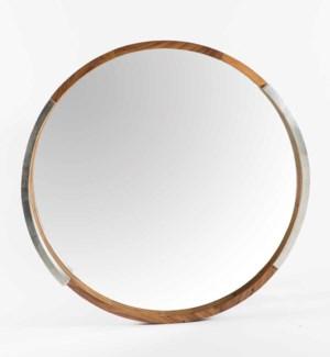 Round Parota Wood Mirror with Silver Detail