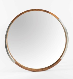 Round Parota Wood Mirror with Silver Detail