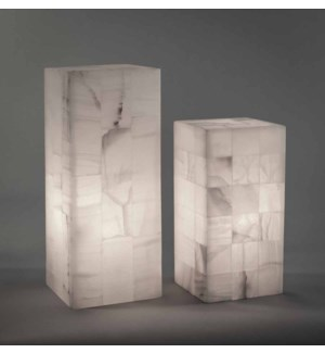 Large White Onyx Table Lamp with Square onyx detail