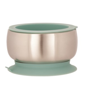 Baby Stainless Suction Bowl + Lid - Green