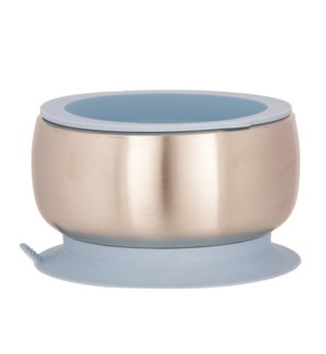 Baby Stainless Suction Bowl + Lid - Blue