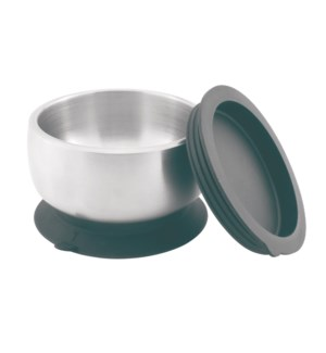 Baby Stainless Suction Bowl + Lid - Black