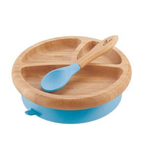 Baby Bamboo Suction Plate+Spoon - Blue