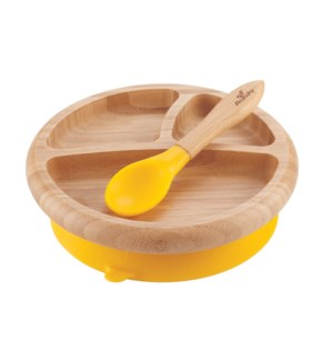 Baby Bamboo Suction Plate+Spoon - Yellow