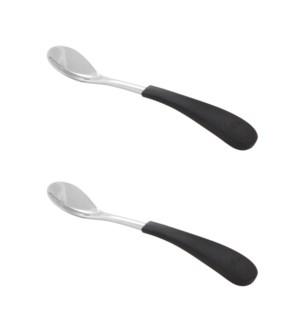 Stainless Steel Infant  Training Spoons 2pk - Black