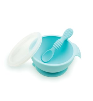 Silicone First Feeding Set with Lid & Spoon - Blue