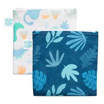 Reusable Snack Bag 2pk Large - Dino, Blue Tropics