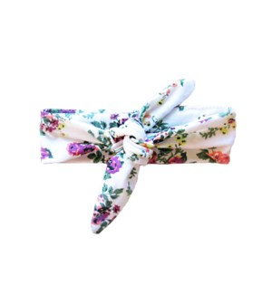 Baby Wisp - Top Knot Headband White Floral Print 3m+