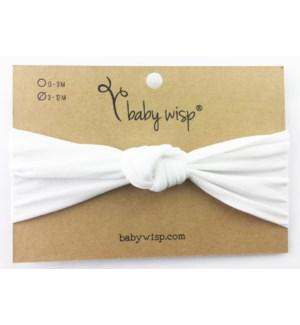 Nylon Turban Knot Infant Headband -  White - 3M+