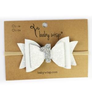 First Birthday Headband - White Glitter