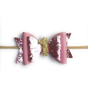 First Birthday Headband- Pink Glitter