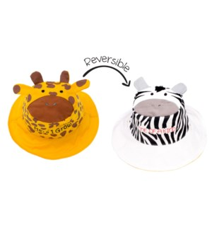 Kids UPF50+ Sun Hat - Giraffe/Zebra Small