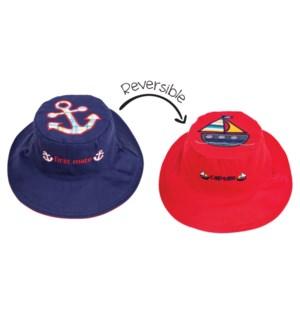 Kids UPF50+ Sun Hat - Anchor/Sailboat Small