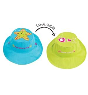 Kids UPF50+ Sun Hat - Starfish/Fish Large