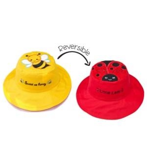 Kids UPF50+ Sun Hat - Bee/Ladybug Small