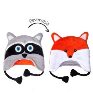 Kids UPF50+ Winter Hat - Racoon/Fox Small